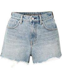 Alexander Wang - Bite Frayed Denim Shorts - Lyst