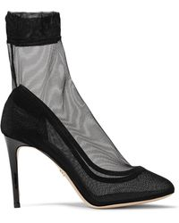 Dolce & Gabbana | Leather-trimmed Stretch-tulle Sock Boots | Lyst