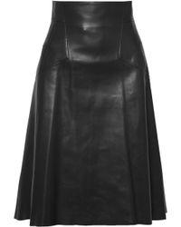 Alexander McQueen - Leather Midi Skirt - Lyst