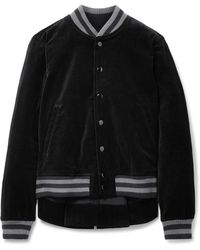 The Great - The Swingy Asymmetric Cotton-velvet Bomber Jacket - Lyst