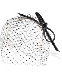 Philip Treacy - Crystal-embellished Mesh, Patent And Buntal Straw Headpiece - Lyst