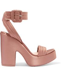 Pedro Garcia | Thora Frayed Satin Platform Sandals | Lyst