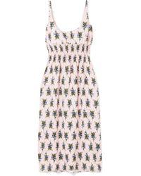 Emilia Wickstead - Shirred Floral-print Crepe Midi Dress - Lyst