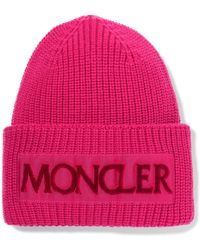 Moncler - Pink Logo Beanie - Lyst