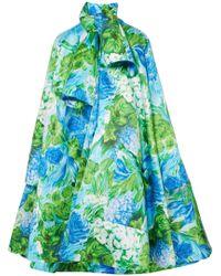 Richard Quinn - Oversized Floral-print Duchesse-satin Coat - Lyst