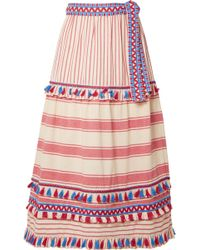 Dodo Bar Or - Fringed Cotton-gauze Midi Skirt - Lyst