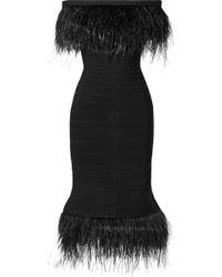 Hervé Léger - Off-the-shoulder Feather-trimmed Bandage Dress - Lyst