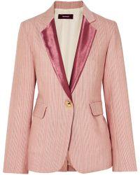 Sies Marjan - Kaia Satin-trimmed Striped Wool-blend Blazer - Lyst