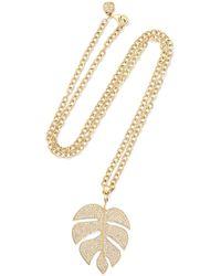 Sydney Evan - Extra Large Monstera Leaf 14-karat Gold Diamond Necklace - Lyst