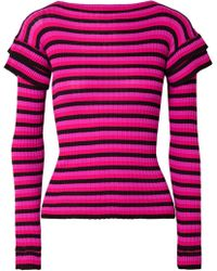 Philosophy Di Lorenzo Serafini - Tiered Striped Ribbed Cotton Jumper - Lyst