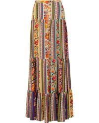 Etro - Midburn Tiered Silk Crepe Maxi Skirt - Lyst