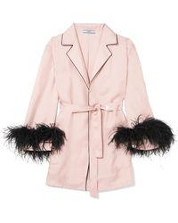 Prada - Feather-embellished Belted Silk-twill Robe - Lyst