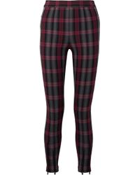 T By Alexander Wang - Zip-embellished Plaid Cotton-blend Twill Skinny Pants - Lyst