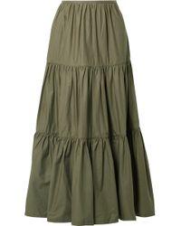 Solid & Striped - Tiered Cotton-poplin Maxi Skirt - Lyst