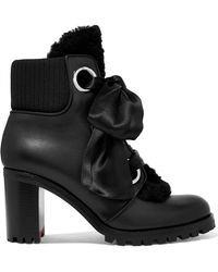 Christian Louboutin - Jenny From The Alps Shearling And Leather Ankle Boots - Lyst