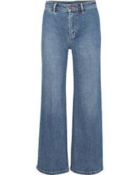 Vince - Cropped High-rise Wide-leg Jeans - Lyst