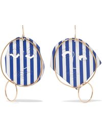 J.W. Anderson | Moon Face Gold-tone And Varnish Earrings | Lyst