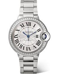 Cartier - Stainless Steel Diamond Ballon Bleu De Automatic Watch 33mm - Lyst