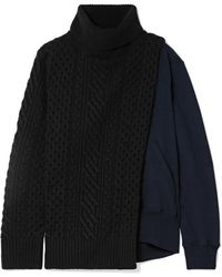 Sacai - Cable-knit Wool And Cotton-terry Turtleneck Sweater - Lyst