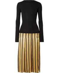 By Malene Birger - Lorenas Ribbed-knit And Striped Satin Midi Dress - Lyst