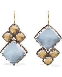 Larkspur & Hawk - Sadie Cluster Rhodium-dipped Quartz Earrings - Lyst