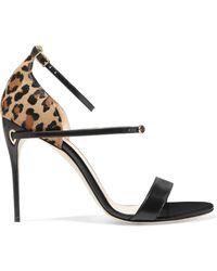 Jennifer Chamandi - Rolando Leopard-print Calf Hair And Leather Sandals - Lyst