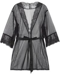 L'Agent by Agent Provocateur - Grace Lace-trimmed Stretch-tulle Robe - Lyst