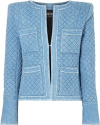 Balmain - Quilted Denim Jacket - Lyst