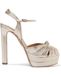 Aquazzura - Evita 130 Metallic Leather Platform Sandals - Lyst