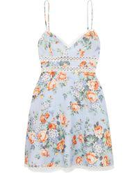 Zimmermann - Bowie Crochet-trimmed Floral-print Linen Mini Dress - Lyst