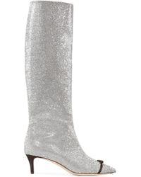 Marco De Vincenzo - Swarovski Crystal-embellished Leather Knee Boots - Lyst