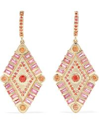 Marlo Laz - Shaman's Eye 14-karat Gold, Tourmaline And Sapphire Earrings - Lyst