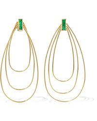 Ileana Makri - Triple Tear 18-karat Gold Emerald Earrings - Lyst