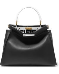 e5d3133ee415 Fendi - Peekaboo Leather Tote - Lyst