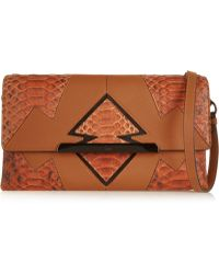 Christian Louboutin - Rougissime Arizona Python-paneled Textured-leather Clutch - Lyst
