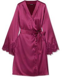 I.D Sarrieri - Chantilly Lace-trimmed Silk-blend Satin Robe - Lyst