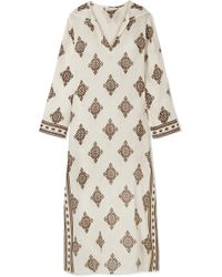 Tory Burch | Hooded Printed Linen Kaftan | Lyst