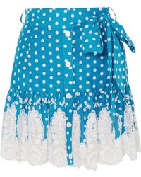 Miguelina - Emy Crocheted Polka-dot Cotton Mini Skirt - Lyst