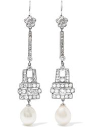 Fred Leighton - 1915 Platinum, Diamond And Pearl Earrings - Lyst