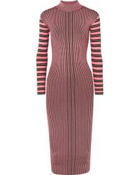 McQ - Striped Ribbed-knit Turtleneck Dress - Lyst