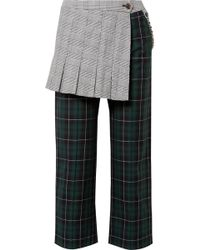 Sandy Liang - Layered Checked Cotton-canvas Straight-leg Trousers - Lyst