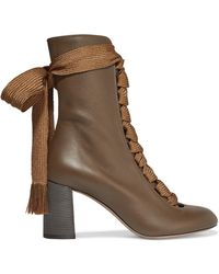 Chloé - Harper Textured-leather Ankle Boots - Lyst