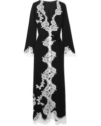 Carine Gilson - Lace-trimmed Silk-georgette Robe - Lyst