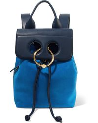 JW Anderson - Pierce Mini Suede And Textured-leather Backpack - Lyst