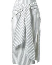 Jason Wu - Tie-front Striped Seersucker Skirt - Lyst
