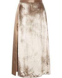Michelle Mason - Velvet-paneled Silk-satin Midi Skirt - Lyst
