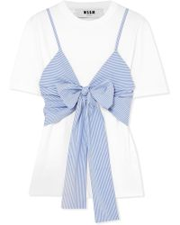 MSGM | Layered Tie-front Striped Cotton-poplin And Jersey T-shirt | Lyst
