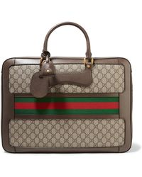 Gucci - Echo Small Leather-trimmed Coated-canvas Suitcase - Lyst