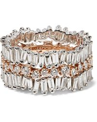 Suzanne Kalan | 18-karat White And Rose Gold Diamond Ring | Lyst