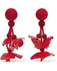 Oscar de la Renta - Falling Beaded Acetate Clip Earrings - Lyst